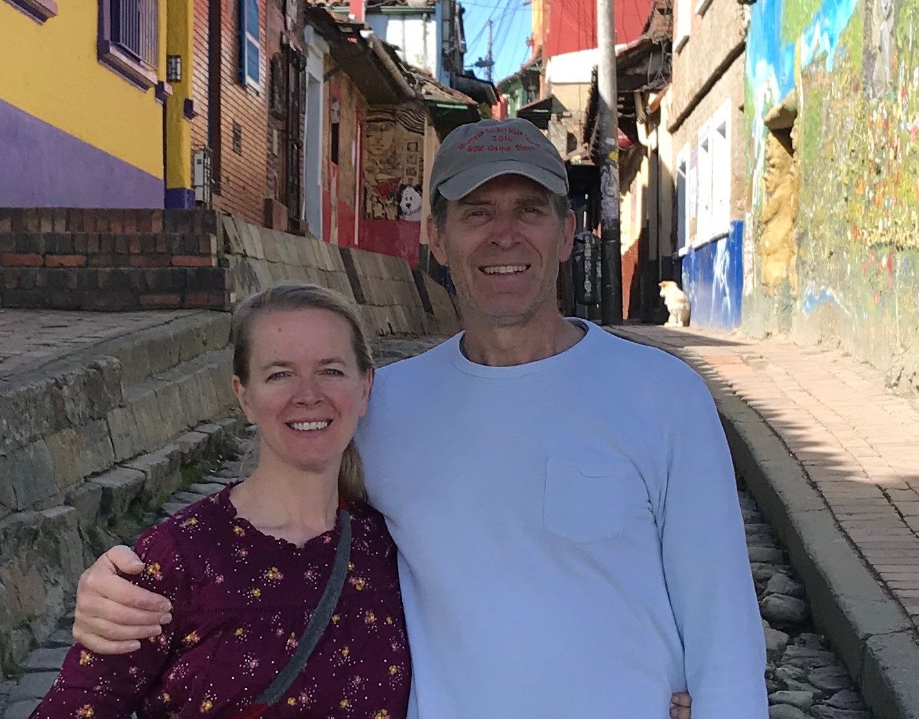 Todd and Kelley standing on Bogata, Colombia's oldest street