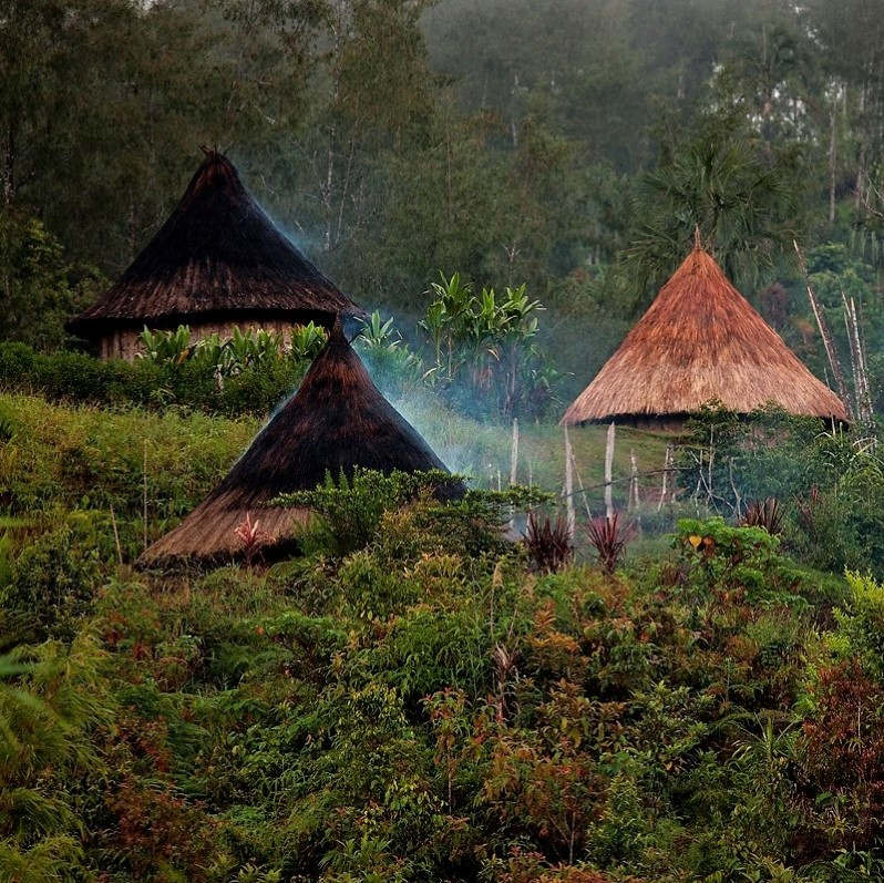 no image is available for this missionary, so here are some huts with smoke wafting through the thatch roofs