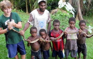 Boys with snake
