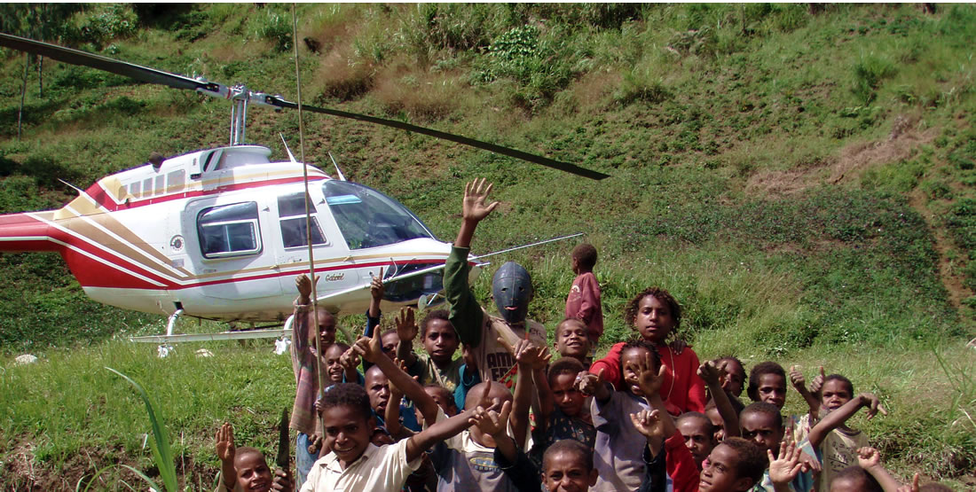 Helicopter with children