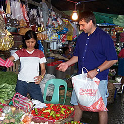 Buying supplies in the Philippines.
