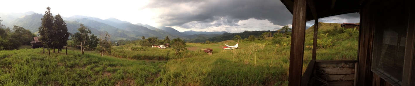 plane and helicopter over PNG