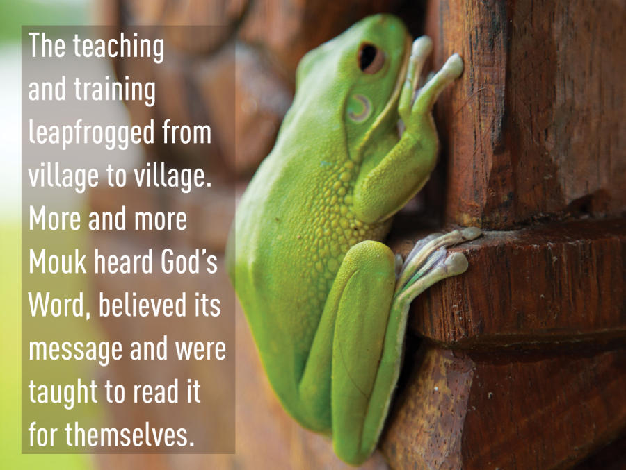 The teaching and training leapfrogged from village to village. More and more Mouk heard God's Word, believed its message and were taught to read it for themselves.
