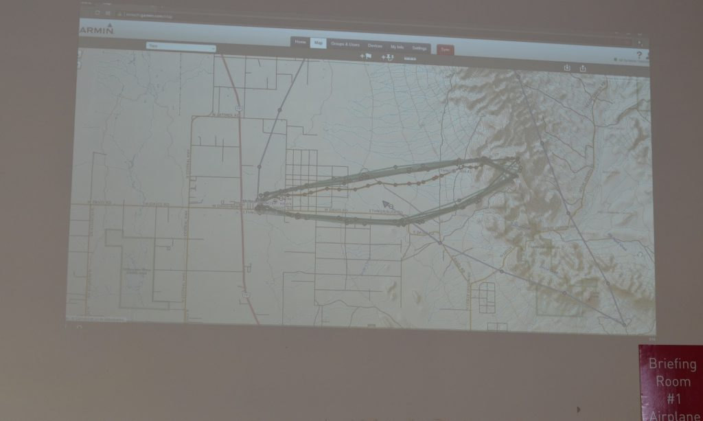 diagram of route made by hikers vs helicopter flying