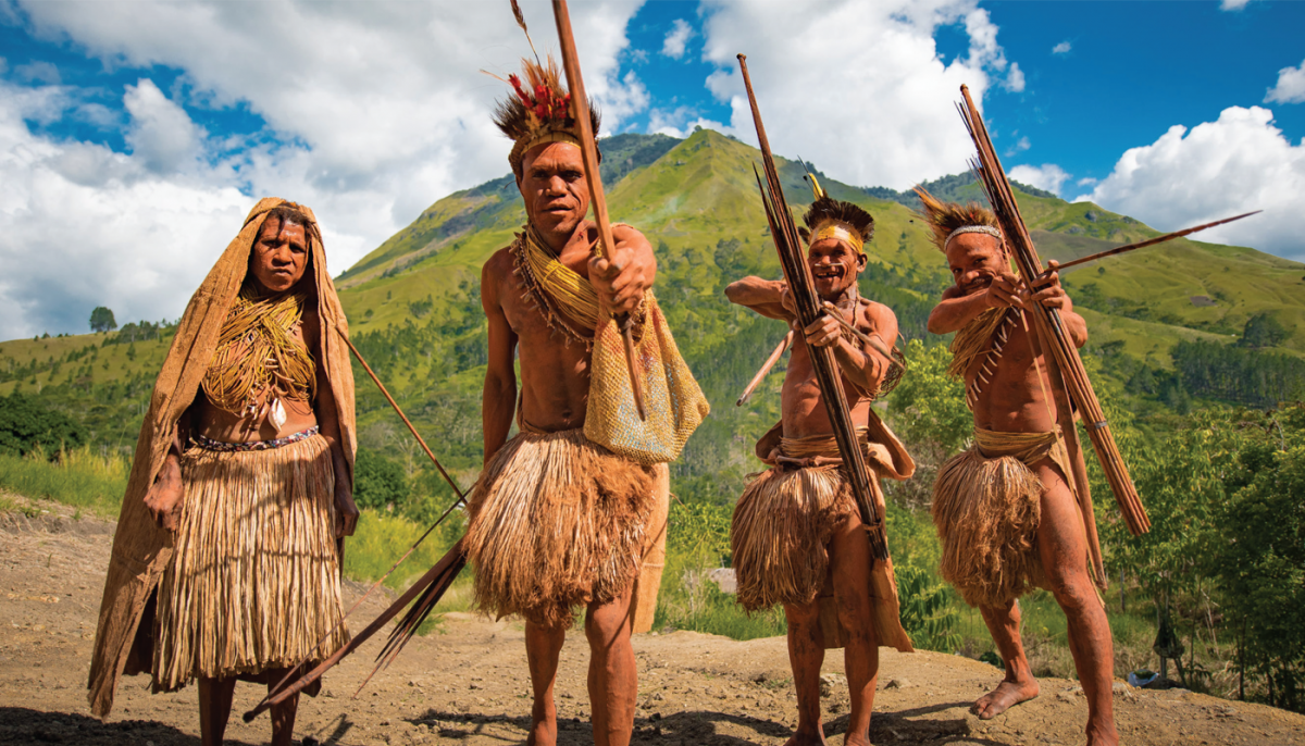 Papua New Guinea people in traditional celebratory garb
