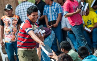Paraguayan man hands out new Bibles