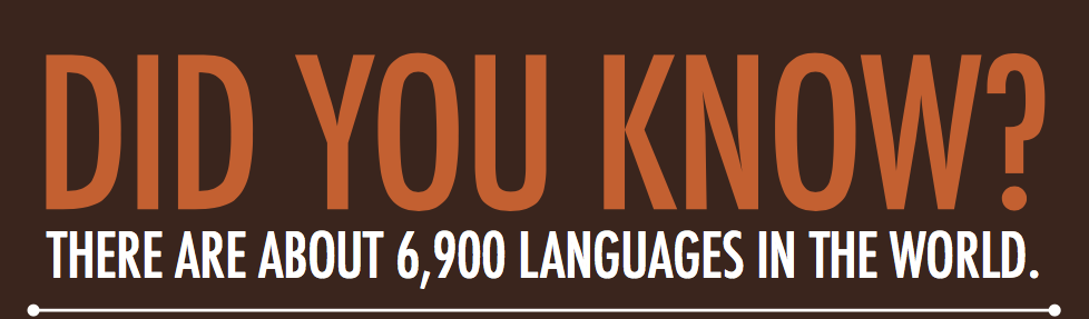 Did you know? There are about 6900 languages in the world.