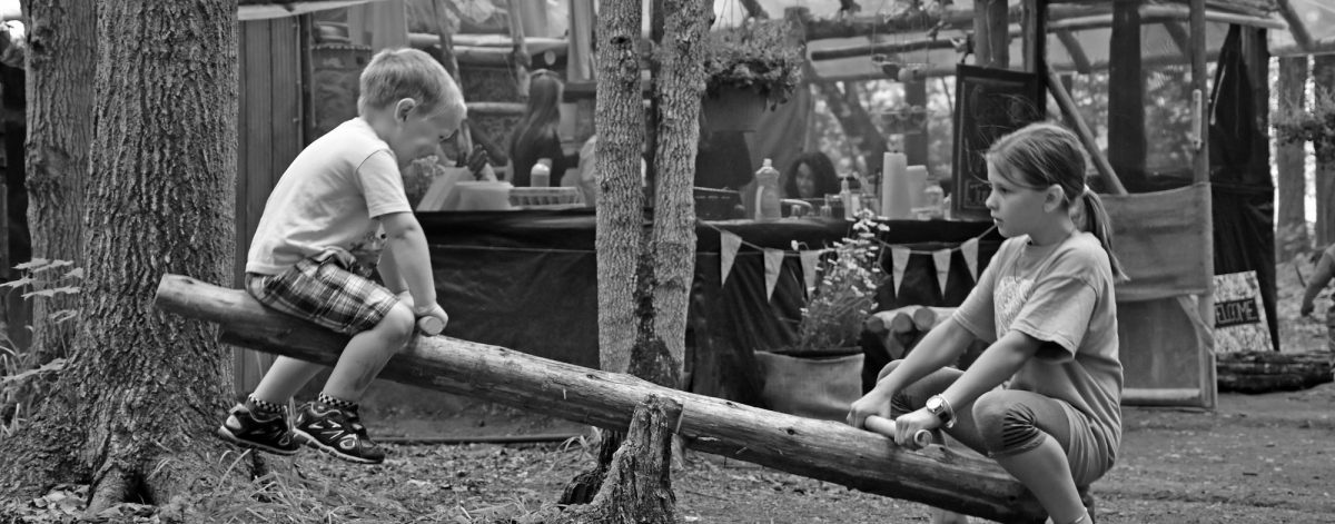 kids playing in the woods on a wooden, homemade teeter-totter