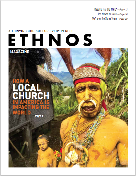 Ethnos Magazine March 2019 cover - two tribal people in traditional ceremonial garb - painted yellow and festooned with beads and feathers