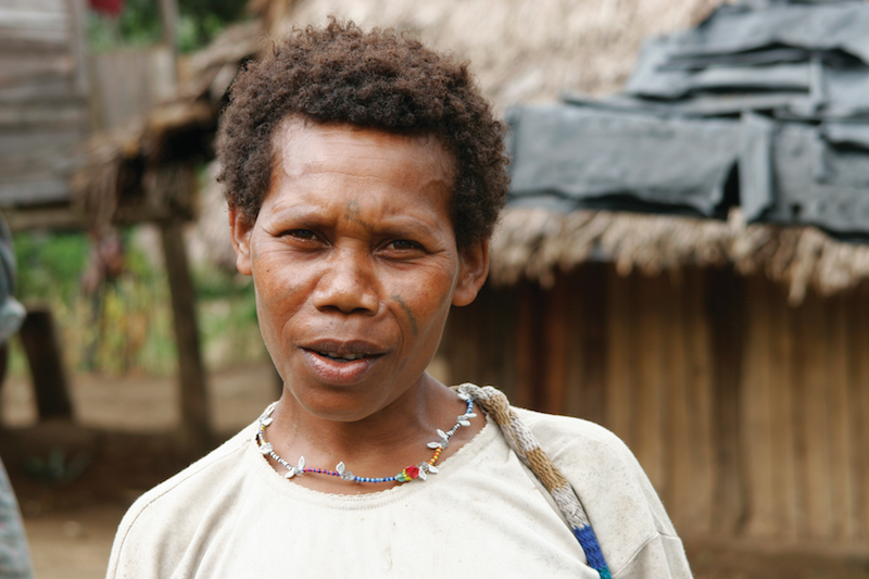 PNG woman in front of