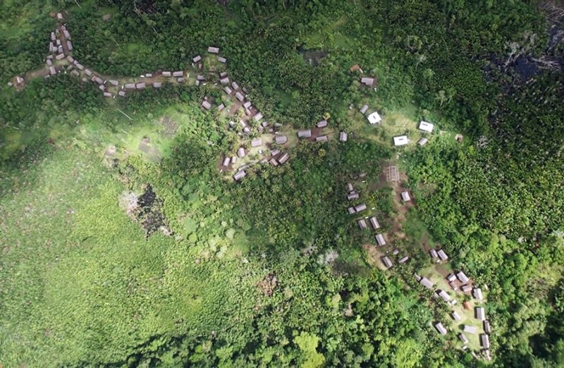 aerial view of a small village in the jungle