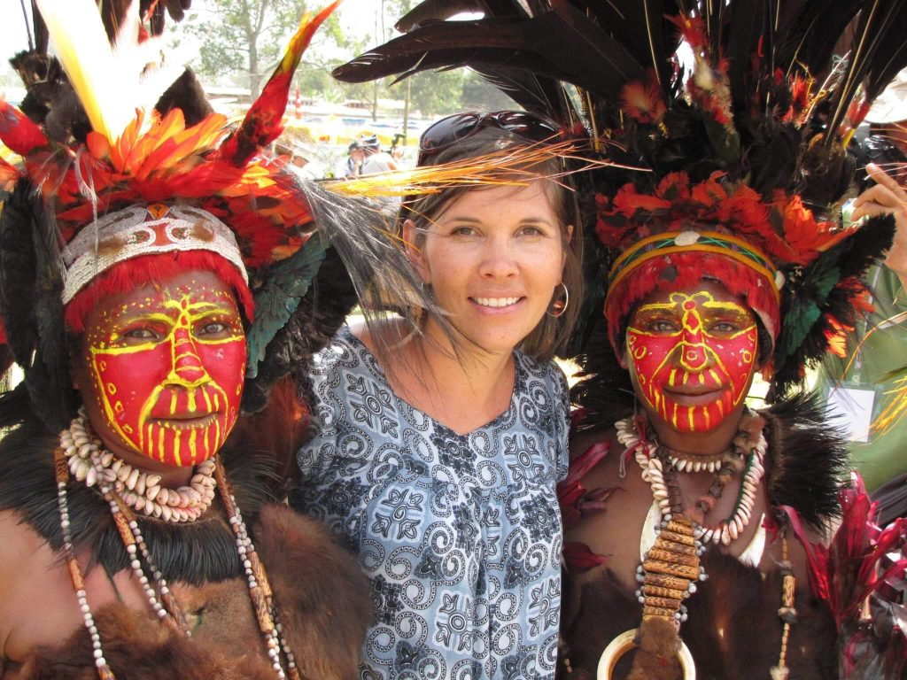 Lesley Doerksen, Ethnos Canada missionary with people from Papua New Guinea