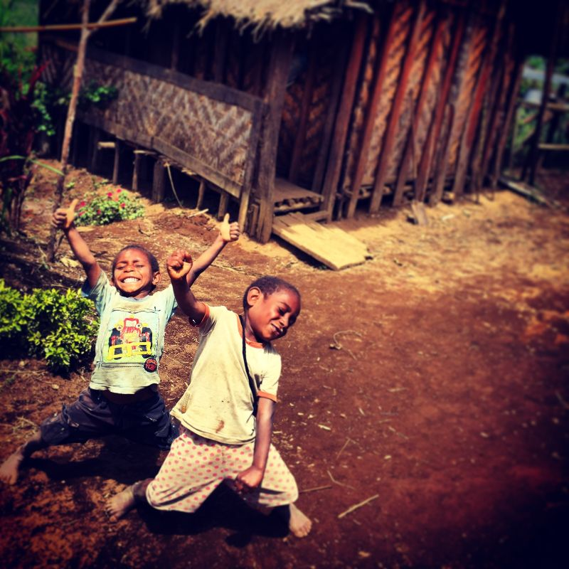 boys from Papua New Guinea being excited