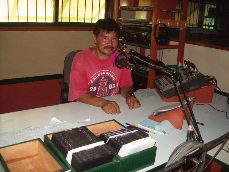Bolivian man ready to broadcast