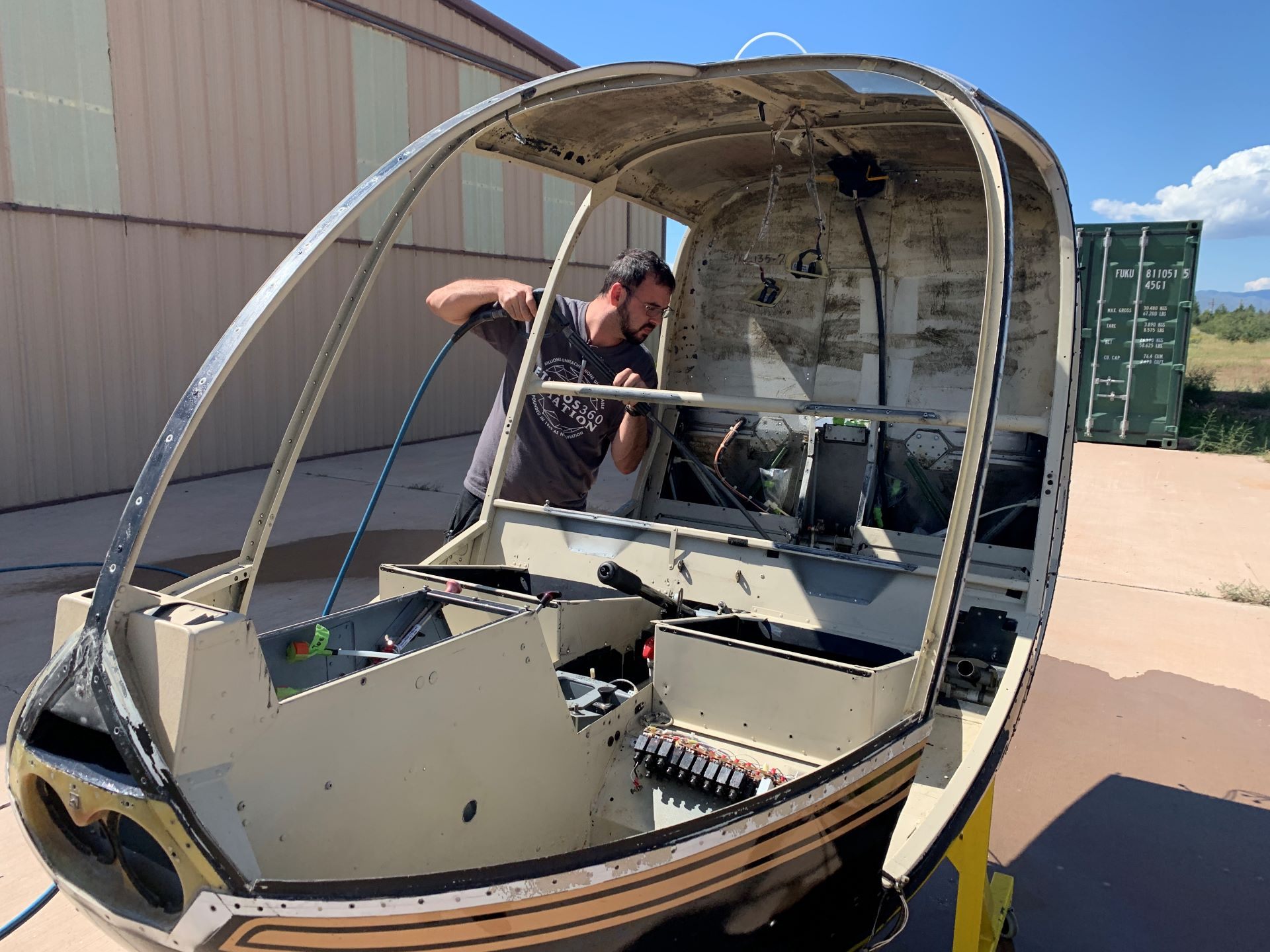 Cody Burns getting the R44 down to the bare hull