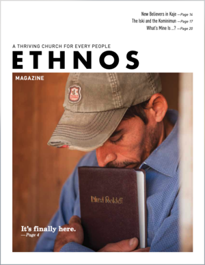 March 2020 Ethnos Magazine cover - man hugging his Bible