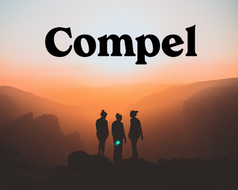 compel logo on a photo of shadows of women hiking in mountains