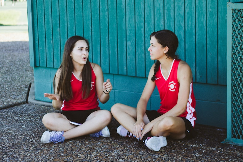 young athletes chatting